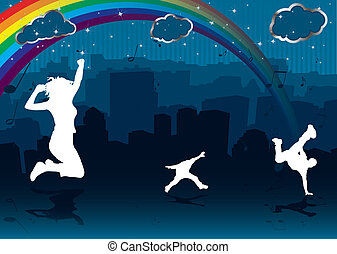 cityscape, arco íris
