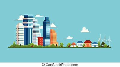 cityscape, arranha-céus, houses., edifícios, pequeno, suburbano, privado