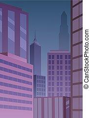 Cityscape Art Deco Purple