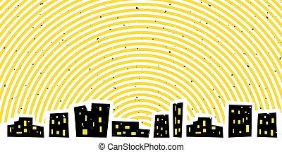 cityscape, astratto, cielo, luminoso, notte