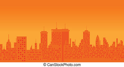 Cityscape at sunset - Big city skyline at sunset