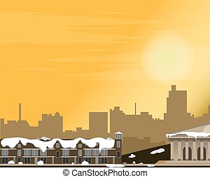 Cityscape at sunset. Panorama of the street. Winter. Vector illustration.