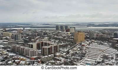 Cityscape at winter in Dnipro city. - Aerial view of...