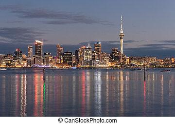 cityscape, auckland, noche