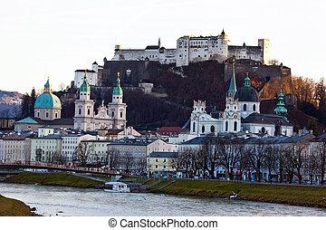 cityscape, austria, salzburg