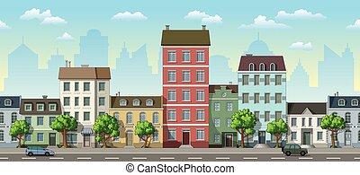 cityscape, automobili, seamless, fondo, cartone animato