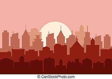 cityscape, avond, illustration., vector