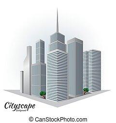 cityscape, bâtiment, skycraper