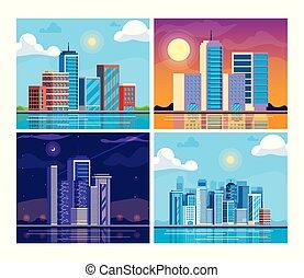 cityscape, bâtiments, ensemble, scène