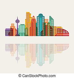 cityscape, bâtiments., fond