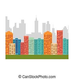 cityscape, bâtiments, horizon, icône