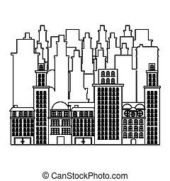cityscape, bâtiments, icône, contour, scène