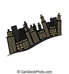 cityscape, bâtiments, icône, scène, côté