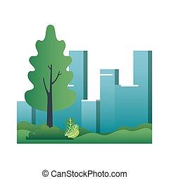cityscape, bâtiments, parc, scène