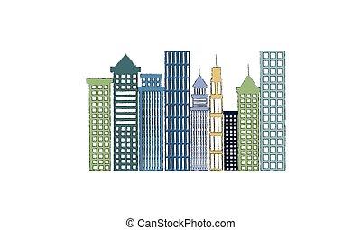 cityscape, bâtiments, scène, icône