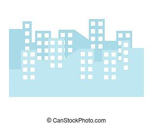 cityscape, bâtiments, scène, icône, isolé