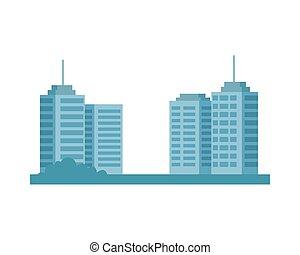 cityscape, bâtiments, scène, isolé, icône