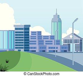 cityscape, bâtiments, scène, jour, icône