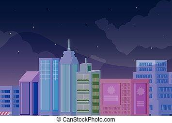 cityscape, bâtiments, scène nuit, icône