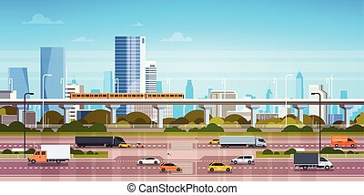 Cityscape Background Modern City Panorama With Highway Road And Subway Over Skyscrapers
