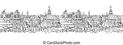 Cityscape background, seamless pattern for your design
