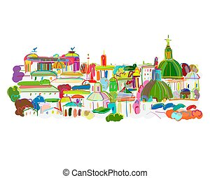 Cityscape background, sketch for your design