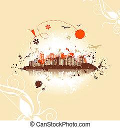 Cityscape background, urban art