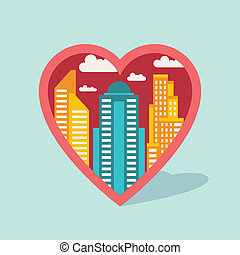 Cityscape background with buildings in shape of heart.