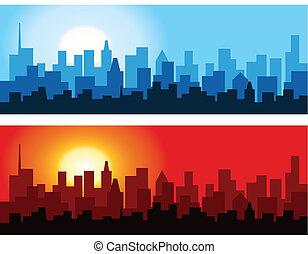 cityscape, -ban, hajnalodik, és, szürkület