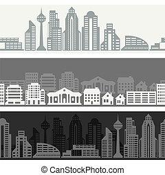 cityscape, bandiere, edifici., orizzontale, seamless