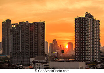 cityscape, bangkok, pôr do sol