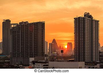 cityscape, bangkok, tramonto