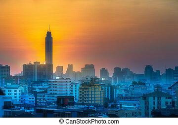 cityscape, bangkok, tramonto, grattacieli