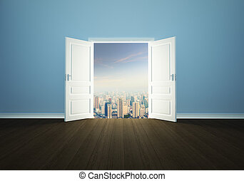Cityscape behind the door