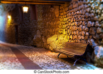 Cityscape. Bench and street