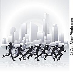 cityscape, biegacze
