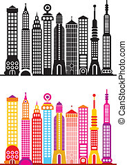 Cityscape. Big city skyline in color and in black and white ...