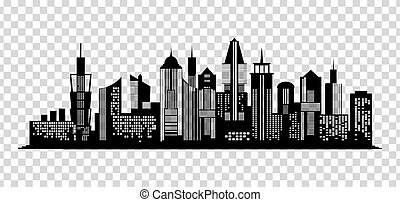 Cityscape black icon on transparent background