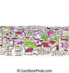 cityscape, bosquejo, seamless, patrón, para, su, diseño