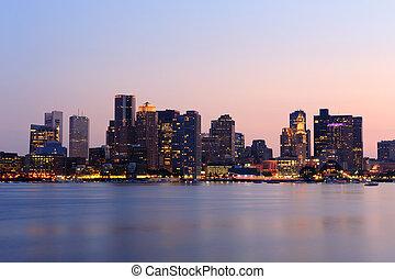cityscape, boston, dämmerung