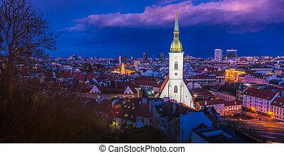 cityscape, bratislava, nuit