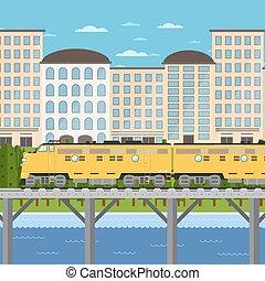 cityscape, bridzs, kiképez, mozgató, háttér