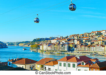 Cityscape cable car Porto Old Town