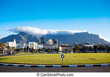 cityscape, capa, áfrica, pueblo, sur