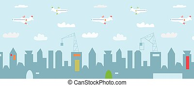Cityscape cartoon with high buildings, constructions and airplanes