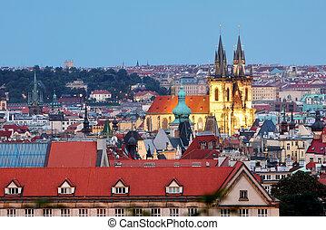 cityscape, cathédrale, prague