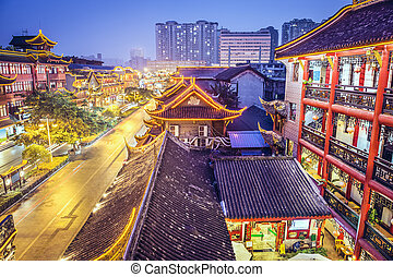 cityscape, chengdu, porcelaine