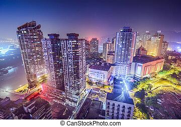 cityscape, chongqing, kína, éjszaka
