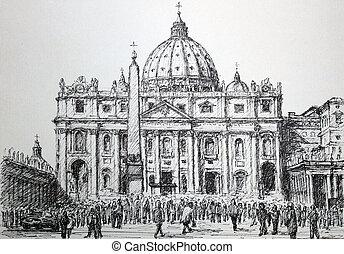 cityscape, cidade, romana, vaticano