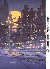 cityscape, cidade, sci-fi, ilustração
